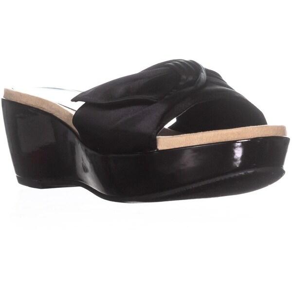 Anne Klein Zandal Wedge Slide Sandals, Black - 6.5 us