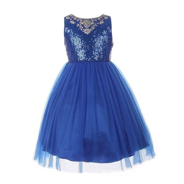 bbd4ac7b2c4 Shop Girls Royal Blue Sequin AB Rhinestone Tulle Junior Bridesmaid ...