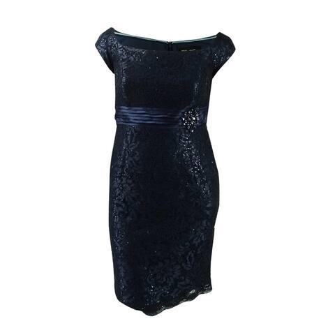 Alex Evenings Women's Petite Sequined Off-The-Shoulder Dress (8P, Navy) - Navy - 8P