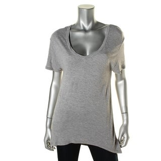 Leith Womens Short Sleeves Stretch Pullover Top - S
