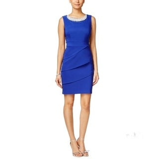 Connected Apparel NEW Blue Women's Size 8 Tiered Embellished Dress