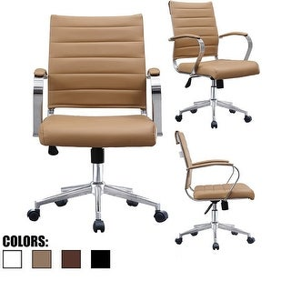2xhome Tan Office Chairs Mid Back Ribbed PU Leather Conference Room Home Office Boss Chrome With Arms Wheels Work
