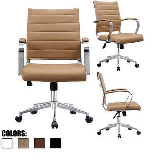 2xhome - Modern Office Chairs Mid Back Ribbed PU Leather Tan