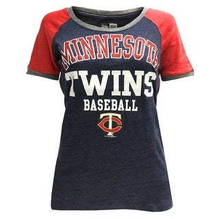 New Era Women's MLB Minnesota Twins Scoop T-Shirt Glitter Logo Tee 11537351
