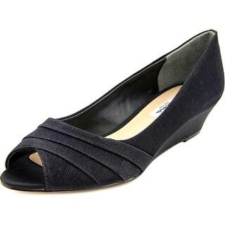 Nina Reba Women Open Toe Canvas Black Wedge Heel