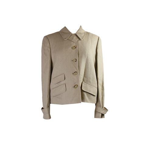 Lauren Ralph Lauren Taupe /-Sleeve Herringbone Jacket - 4
