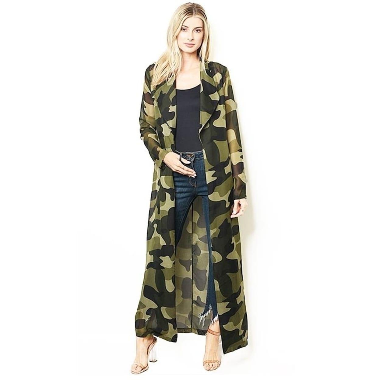 BOHO Faux Silk Olive Camouflage Kimono Open Front Maxi Duster Cardigan S M L XL