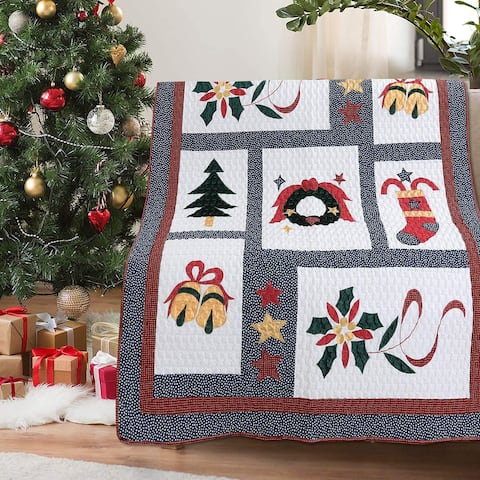 Vintage Christmas Quilted Throw Blanket