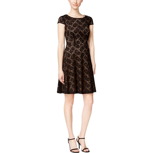 Connected Apparel Womens Evening Dress Lace Cap Sleeves