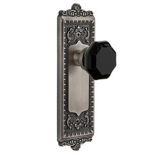 Grandeur WINLYO_SD_NA  Windsor Solid Brass Rose Single Dummy Door Knob with Lyon Black Crystal Knob