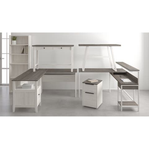 Dorrinson Casual L-Desk with Storage, Antique White/Brown