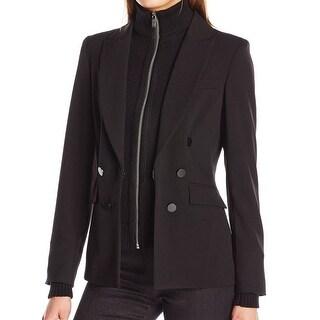 Calvin Klein NEW Black Women 14 Stand-Collar Removable Front Zip Jacket