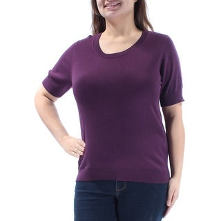 MAXMARA $245 Womens New 1300 Purple Jewel Neck Short Sleeve Sweater XL B+B