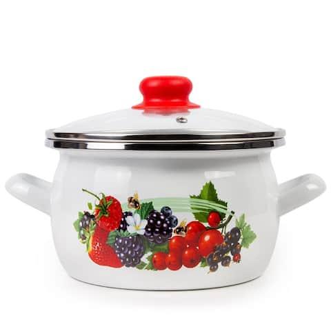 STP Goods 4.2-qt Berries Enamel on Steel Pot w/ Glass Lid