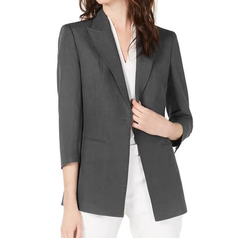 Anne Klein Women's Jacket Nantucket Gray Size 8 Single Button Seamed