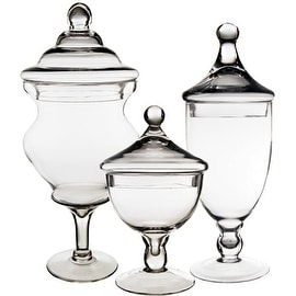 CYS? Apothecary Glass Jar Candy Buffet Containers/Vase with Lid, Set of 3