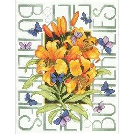 Bucilla Butterflies Stamped Cross Stitch Kit
