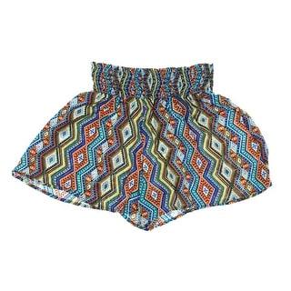 Ultra Flirt Womens Juniors Printed Smocked Casual Shorts