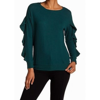 Harlowe & Graham Womens Medium Ruffled Knitted Sweater