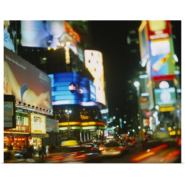 """""""Buildings lit up at night in a city, Times Square, Manhattan, New York City, New York State"""" Poster Print"""