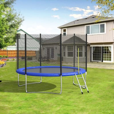 Outdoor Trampoline With Safety Enclosure, Basketball Hoop And Ladder