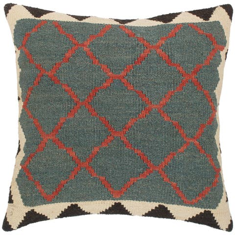 Electric Lorean Hand-Woven Turkish Kilim Pillow 20 in. x 19 in.