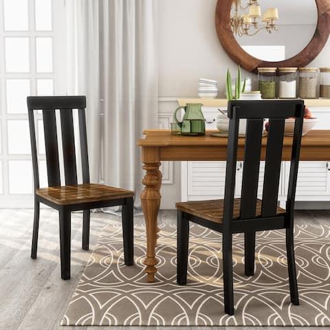 Furniture of America Lara Farmhouse Black Side Chairs (Set of 2)