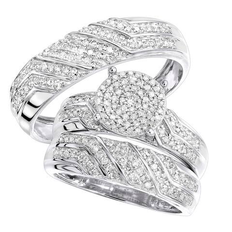 Luxurman Diamond Engagement Ring and His & Hers Wedding Band Bridal Set 10k Gold 0.7ctw