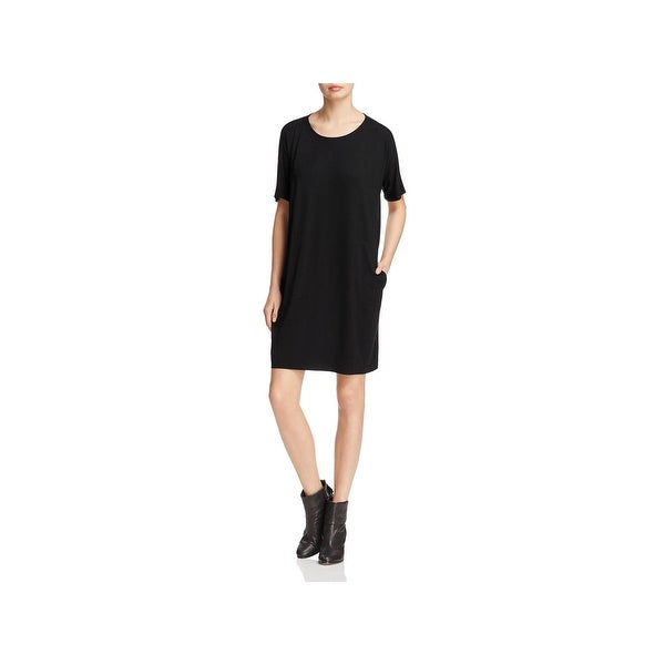 cb9cafcce18 Shop Eileen Fisher Womens Petites T-Shirt Dress Casual Short Sleeves ...
