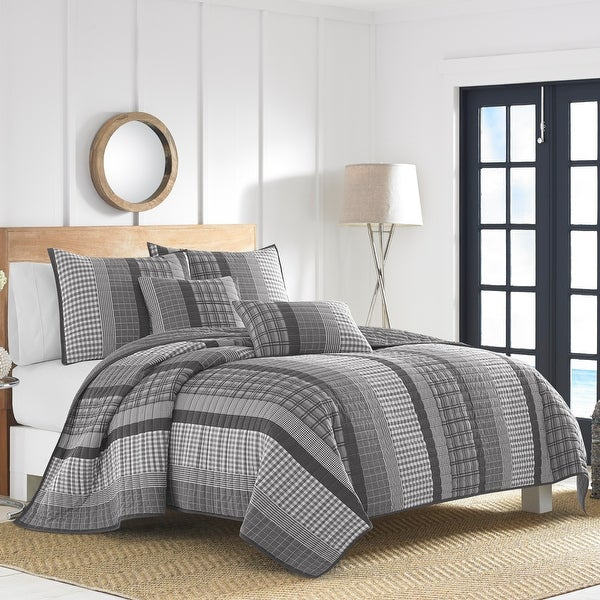 Nautica Gulf Shores Charcoal Quilt Set. Opens flyout.