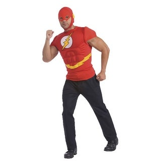 The Flash Muscle Chest Shirt & Headpiece Costume Adult One Size Fits Most Up To 44,X-Large 44-46