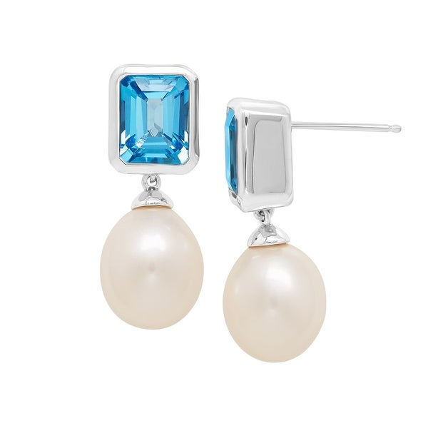 5 5/8 ct Natural Swiss Blue Topaz & Freshwater Pearl Drop Earrings in Sterling Silver