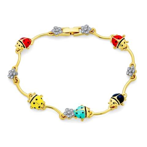 Garden Lucky Ladybug Link Charm Bracelet Crystal Gold Plated