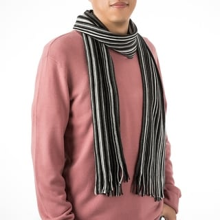 "Link to Glitzhome 69""L Men's Black and White Striped Scarf with Tassels Similar Items in Scarves & Wraps"