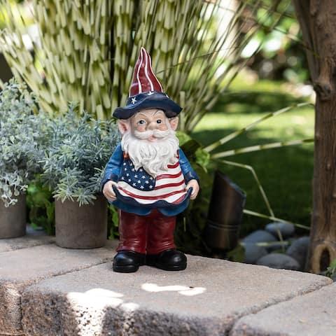"Alpine Americana Gnome with Flag Apron Bird Feeder, 12 Inch Tall - 6""L x 5""W x 12""H"