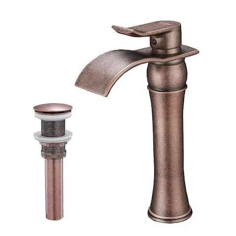 Waterfall Bathroom Sink Vessel Faucet with Drain Assembly