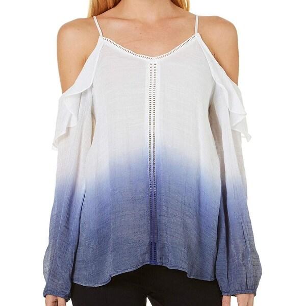 BCX Blue Women's Size XL Dip-Dye V-Neck Cold Shoulder Blouse