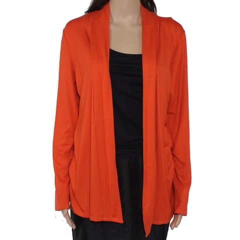 Daisy & Queen Women's Sweater Orange Size Large L Open Front Cardigan