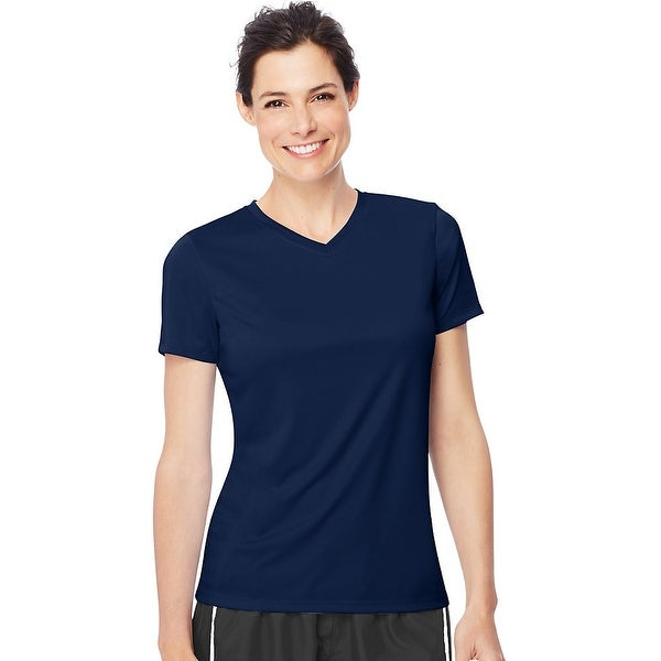 d955bea2b683 Shop Hanes Women's Cool DRI® V-Neck T-Shirt - Size - M - Color - Navy -  Free Shipping On Orders Over $45 - Overstock - 13876963