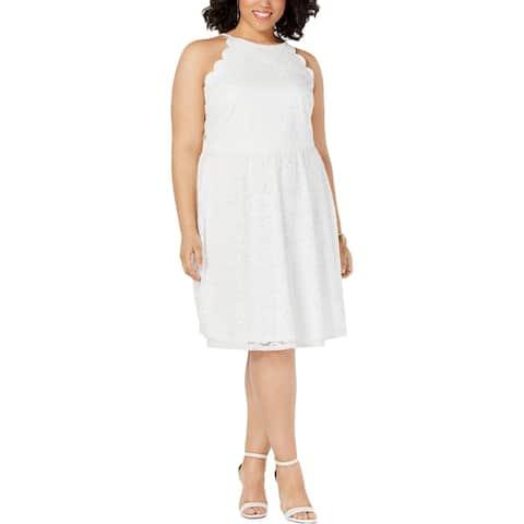 BCX Womens Plus Party Dress Lace A-Line - Off White