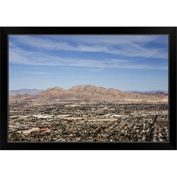"""""""The City Of Las Vegas And Mountains In The Background, Nevada"""" Black Framed Print"""