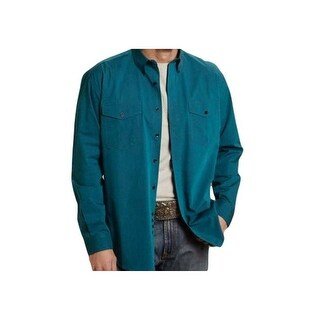Roper Western Shirt Mens L/S Button Tall Turquoise 03-001-0665-0655 BU