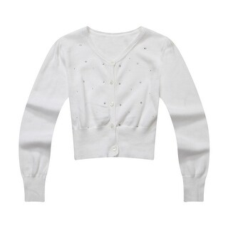 Richie House Little Girls White Hot Drillings Sweet Cardigan Sweater 3-6