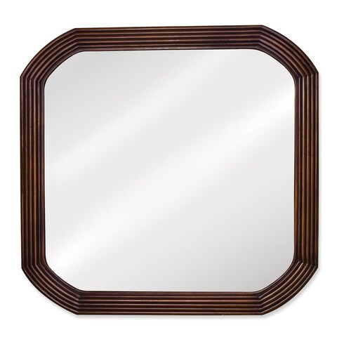 Elements MIR025 Tesla Collection Rounded 26 x 26 Inch Vanity Mirror - Walnut - N/A