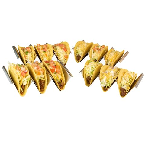 Taco Tuesday TTTH4SS Stainless Steel 4-Piece Taco Holder Set