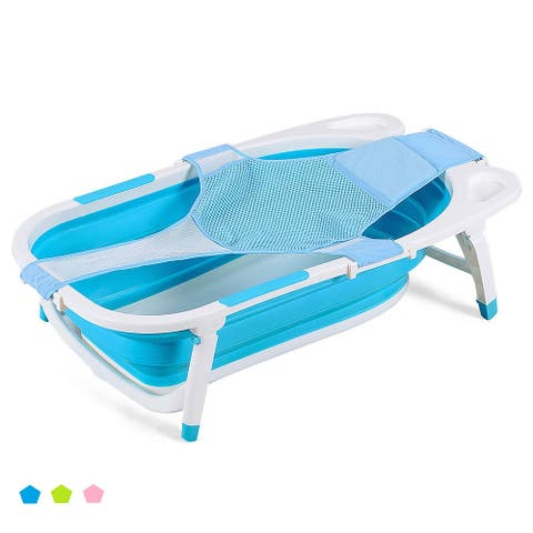 Costway Pink\Blue\ Green Baby Folding Bathtub Infant Collapsible - See Details