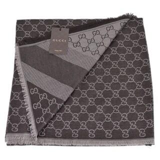 Gucci 281942 XL Wool Silk Brown GG Guccissima Logo Scarf Shawl Wrap 53 x 53