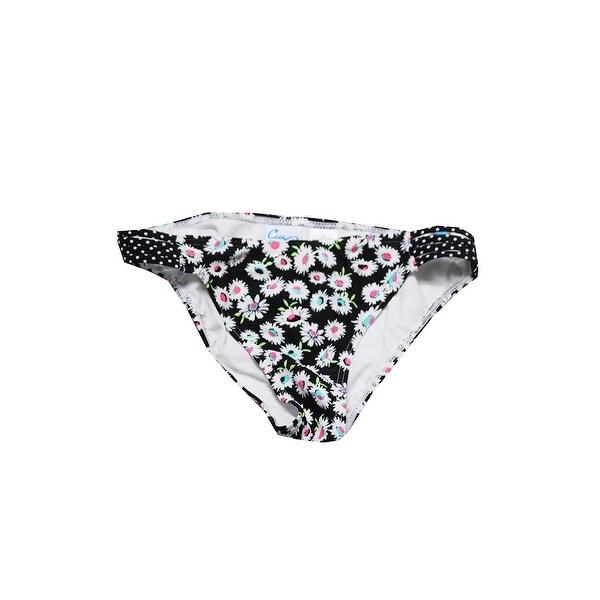 4f4d87358d5bf California Waves Black White Daisy Duke Floral-Print Strappy Bikini Bottom  XS