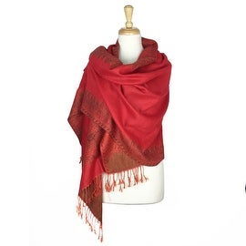 "Pashmina Shawl Scarf Wrap Border Pattern Double Layered Reversible - 28"" x 70"""