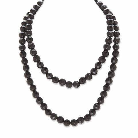 Black Ruthenium Plated Round Simulated Onyx Beaded Strand Necklace